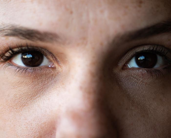 Woman's eyes focusing