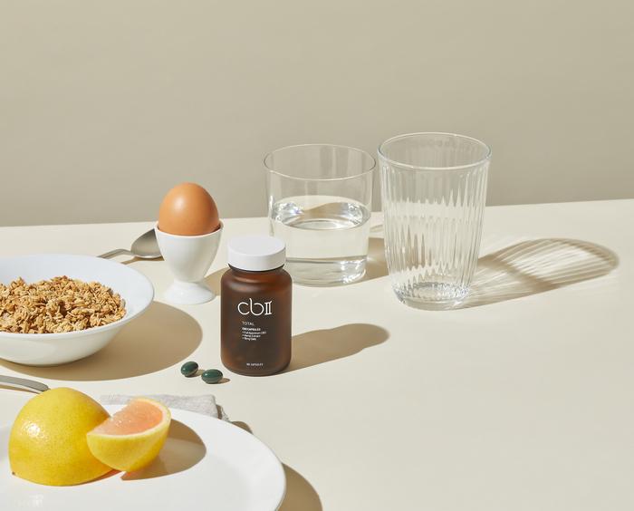 CBII CBD capsules on breakfast table